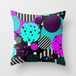 Circles, Bubbles And Stripes Throw Pillow