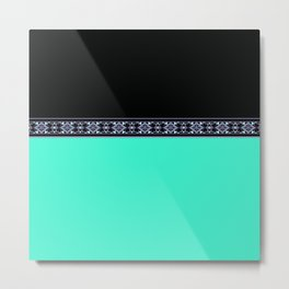 turquoise neon and black Metal Print