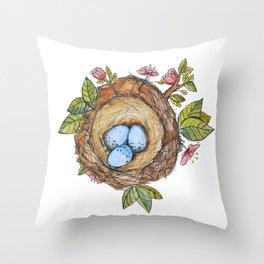 Bird nest Spring watercolor Throw Pillow