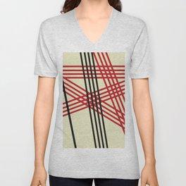 Red Black Lines Unisex V-Neck