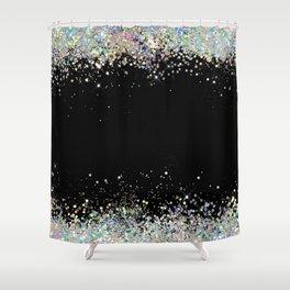 Black Holographic Glitter Pretty Glam Elegant Sparkling Shower Curtain