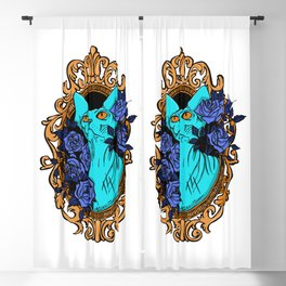 Neon Blue Hairless Sphynx Cat with Mystique Blue Roses and Golden Frame - Pet Portrait Line Tattoo Blackout Curtain
