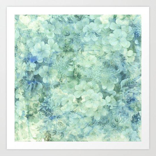 fleurettes and soft blue Art Print