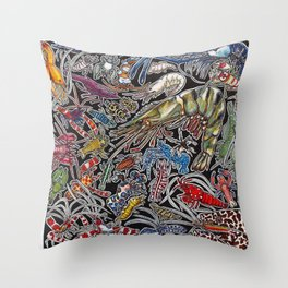 Prawns, gambas and shrimps for ocean lovers, marine biologists and scuba divers Throw Pillow