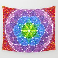 flower of life Wall Tapestries featuring Rainbow Flower of Life by Elspeth McLean