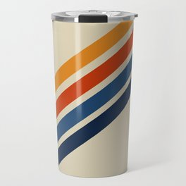Retro 70s Stripe Colorful Rainbow Tan Classic Vintage Travel Mug