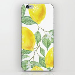 Lemons and Leaves Watercolor Illustration, The Branches Of The Lemon Tree, Watercolor Lemon Tree iPhone Skin