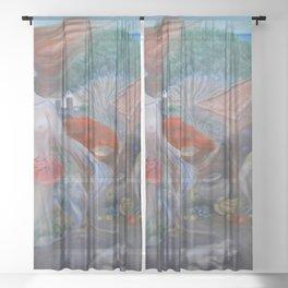 Islas Galápagos tropical paradise landscape nude portrait painting Sheer Curtain