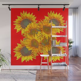 Red Design of Yellow Sunflowers Art Wall Mural