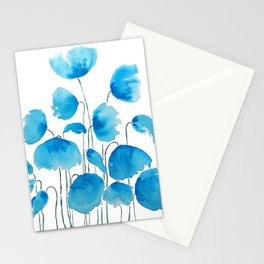 blue poppy field watercolor Stationery Cards
