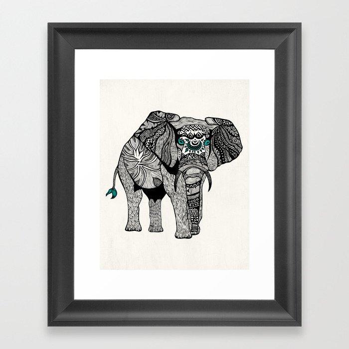 Tribal Elephant Black and White Version Framed Art Print