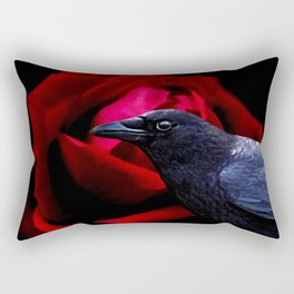 Surreal Crow against Red Rose A585 Rectangular Pillow