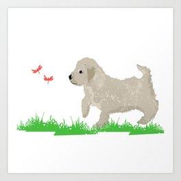 Cockapoo dog art cream Art Print