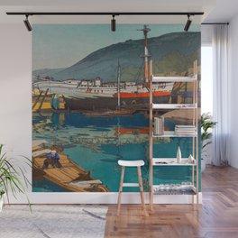Kinoe harbor Hiroshi Yoshida Vintage Japanese Woodblock Print Wall Mural