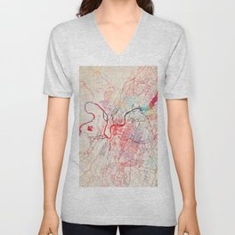 Chattanooga map Tennessee painting Unisex V-Neck