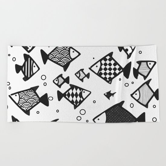Hipster fish seamless drawing art Beach Towel