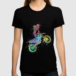 Girl Motocross Colorful Watercolor Moto Bike Supercross Art T-shirt