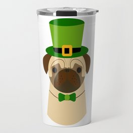 Kiss Me I'm Irish Saint Patrick's Day Pug Coffee Mug Travel Mug