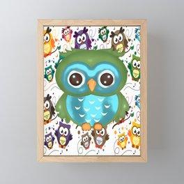 CUTE PLAYFUL OWL Framed Mini Art Print