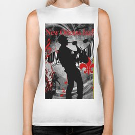 New Orleans Jazz Saxophone And Piano Music Biker Tank