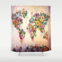 world map Shower Curtains featuring world map by Bekim ART