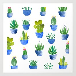 Blue Potted Watercolor Cacti Pattern Art Print