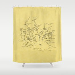 Here Be Monsters Shower Curtain