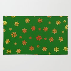 Snowflakes (Red & Gold on Green) Rug