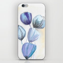 Blue bell flowers watercolor painting romantic something blue iPhone Skin