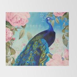 Peacock & Pink Roses  Throw Blanket