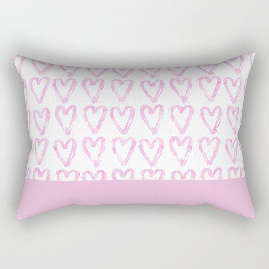 Heart Pattern Pink Rectangular Pillow