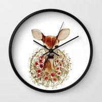 fawn Wall Clocks featuring Fawn  by craftberrybush