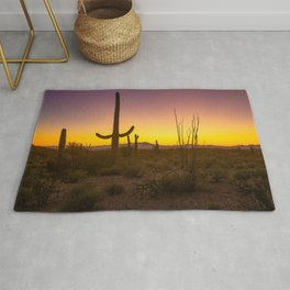 Spirit of the Southwest - Saguaro Cactus and Desert Plant Life in Warm Glow of Arizona Sunset Rug