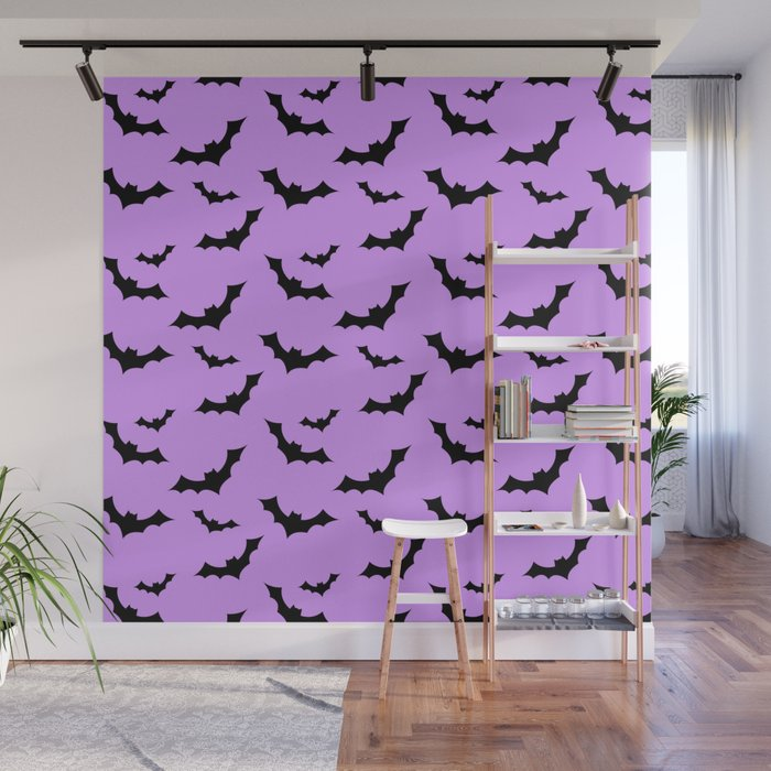 Black Bat Pattern on Purple Wall Mural