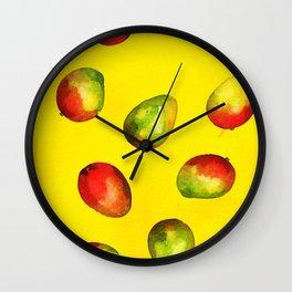 Mango Pattern - Yellow Wall Clock