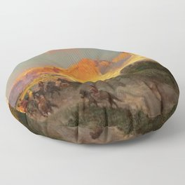Green River Cliffs, Wyoming Landscape by Thomas Moran Floor Pillow