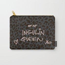 Insulin Queen Handwritten (Pink on Black Leopard) Carry-All Pouch