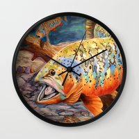 trout Wall Clocks featuring Tiger Trout by GetTAMArt