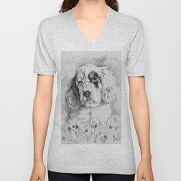 English Setter puppy Black and white portrait Unisex V-Neck