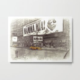 NYC Yellow Cabs Musical - SKETCH Metal Print