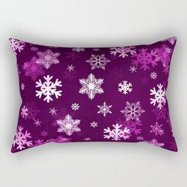 Dark Lilac Snowflakes Rectangular Pillow
