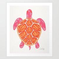 Sea Turtle – Melon Palette Art Print