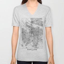 Portland White Map Unisex V-Neck