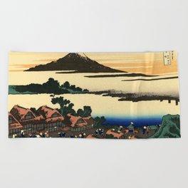 "Hokusai (1760–1849) ""Dawn at Isawa in Kai Province"" Beach Towel"