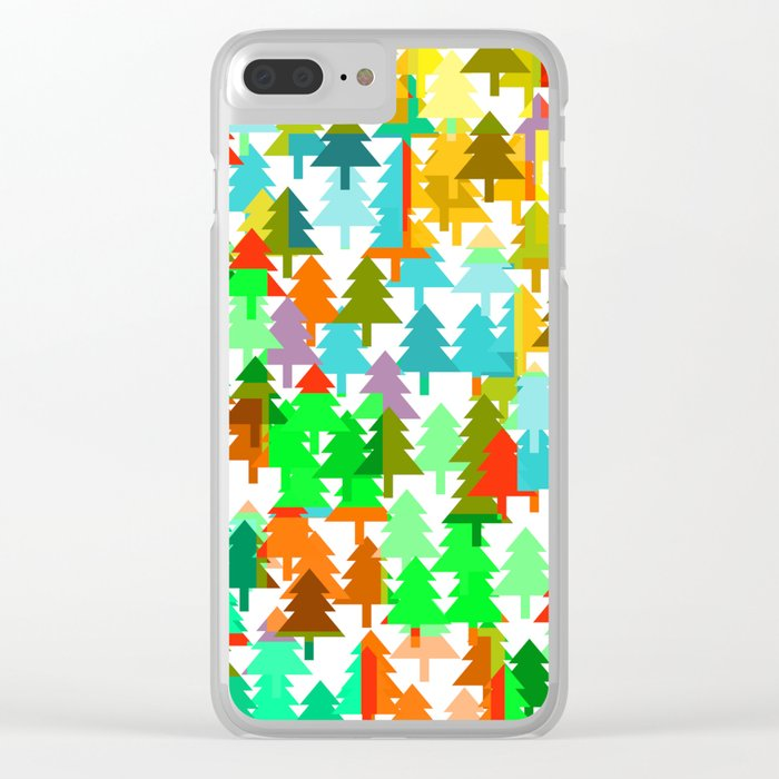 Colorful fir pattern Clear iPhone Case