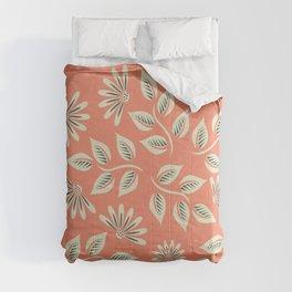 Coral Leaves & Flowers Comforters