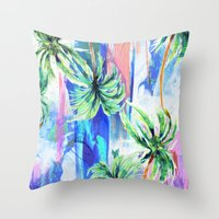 palm trees Throw Pillows featuring Palm trees by Nikkistrange