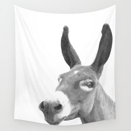Black and white donkey Wall Tapestry