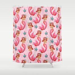 Tropical Redhead Mermaid Shower Curtain