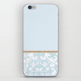 Duck egg blue porcelain floral iPhone Skin